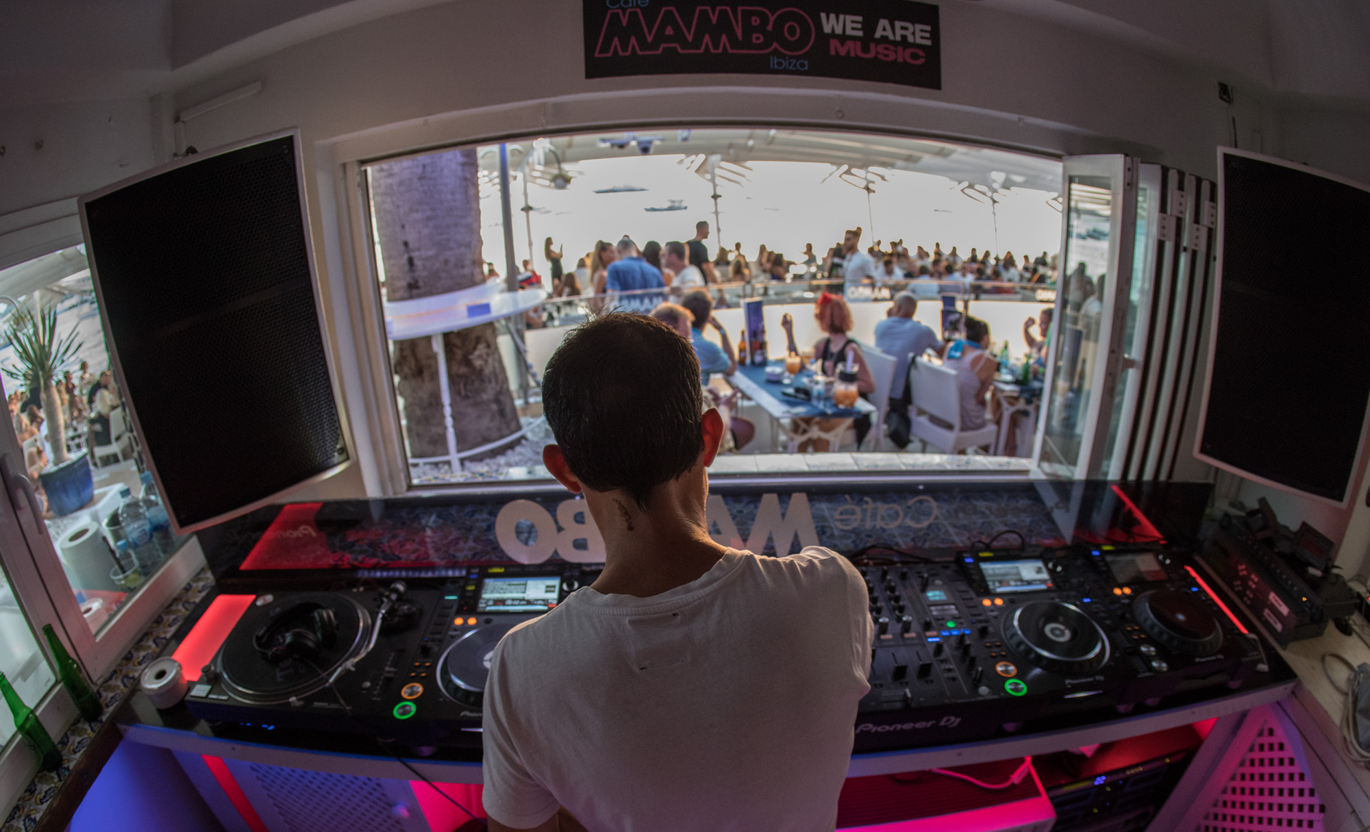 Pioneer DJ In Ibiza Cafe Mambo booth