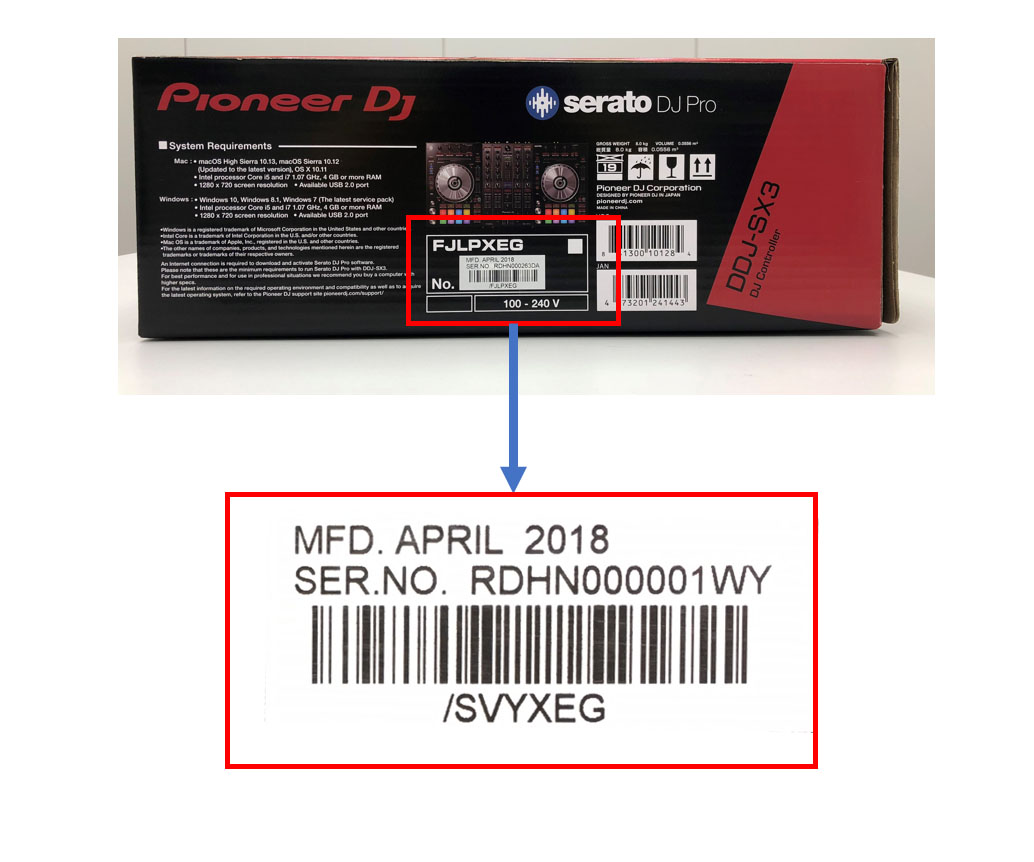 How to find the DDJ-SX3 barcode on the box