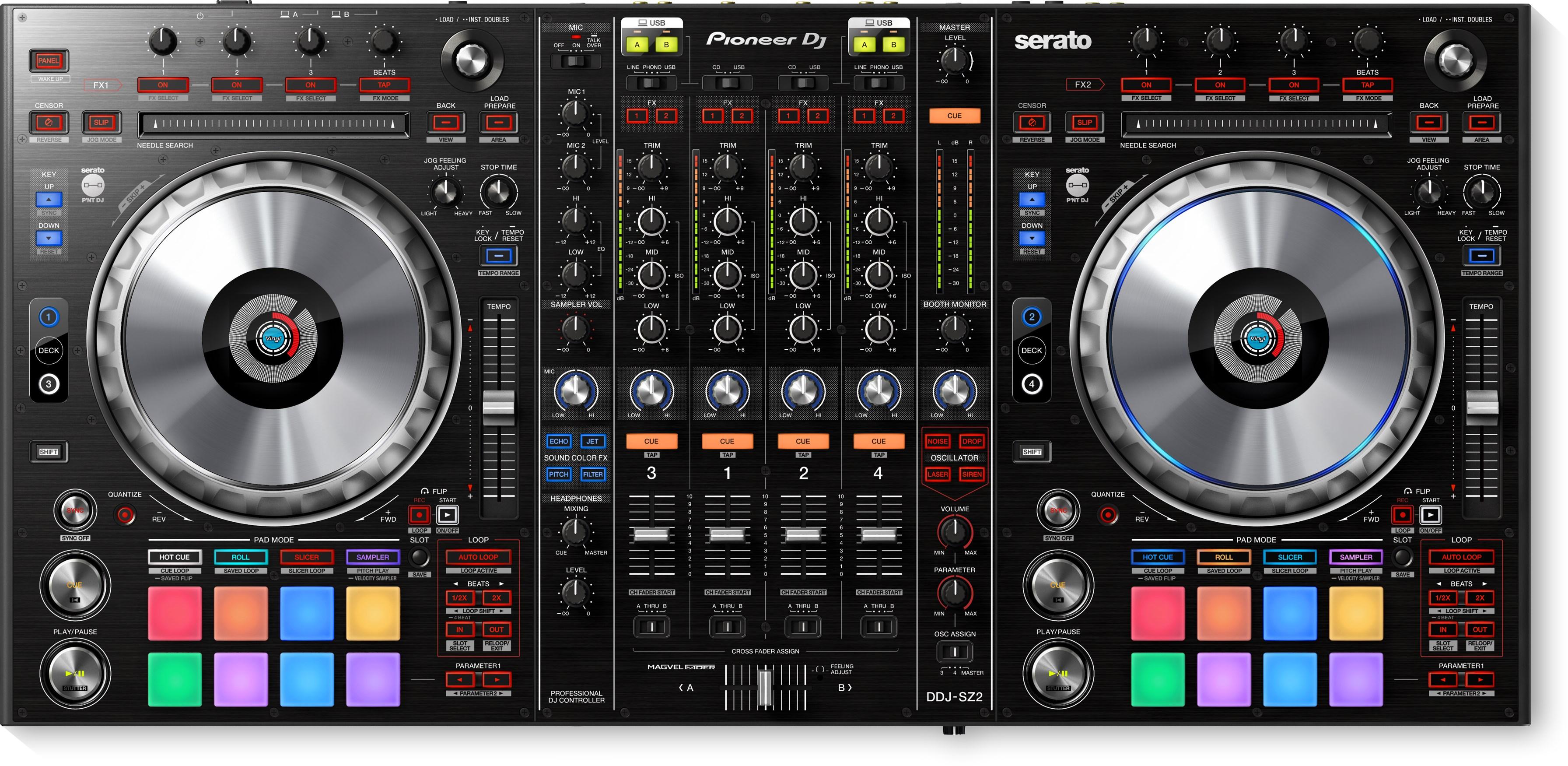 ddj sz2 flagship 4 channel controller for serato dj pro black pioneer dj. Black Bedroom Furniture Sets. Home Design Ideas