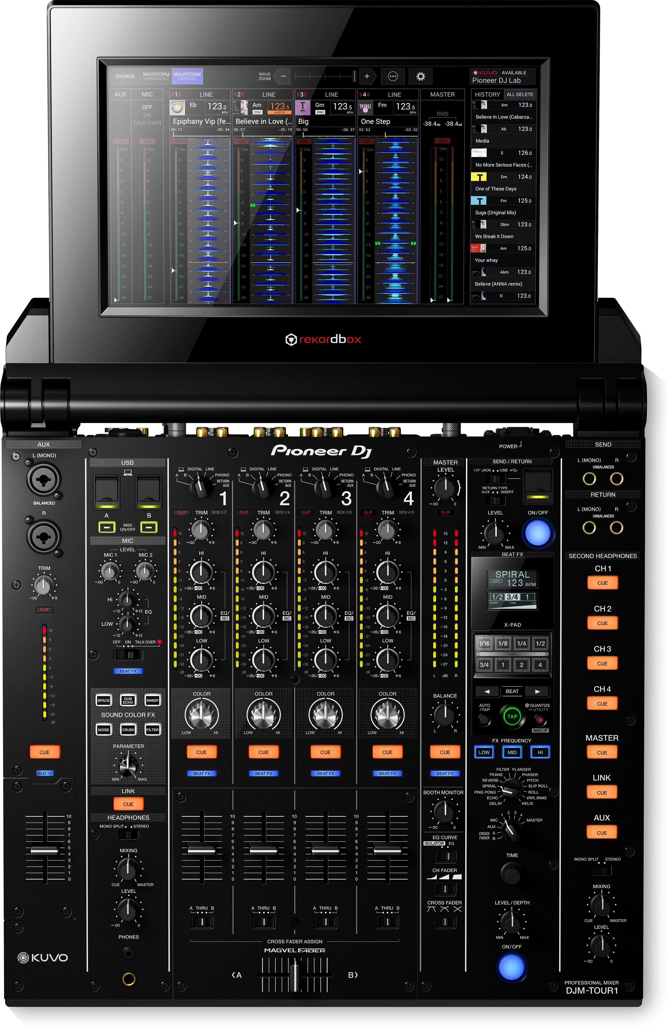 djm tour1 tour system 4 channel digital mixer with fold out touch screen black pioneer dj. Black Bedroom Furniture Sets. Home Design Ideas
