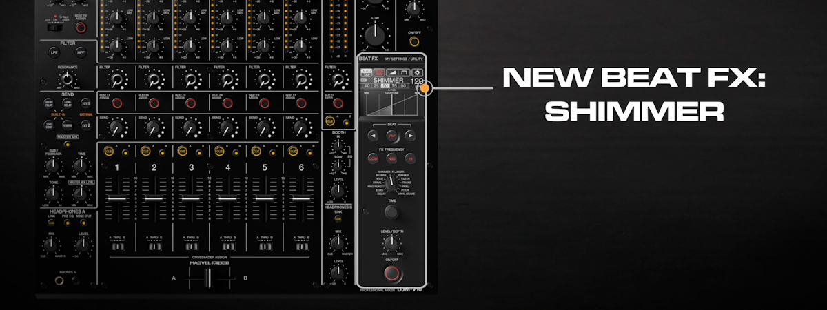 09 How to use the new Shimmer Beat FX DJMV10 6channel professional mixer tutorial seriesPRODUCTPAGE1