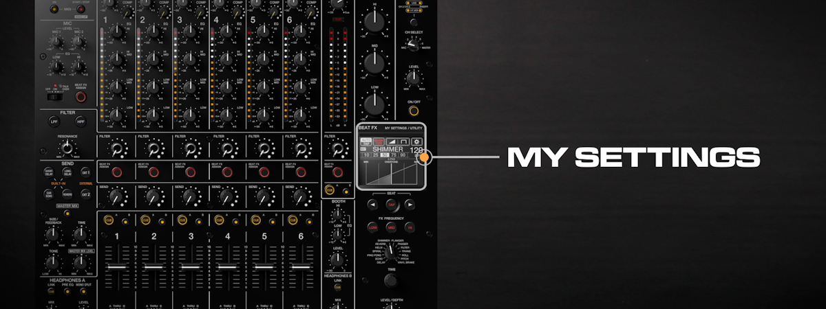 13 How to change and save My Settings DJMV10 6channel professional mixer tutorial seriesMYSETTINGSPR