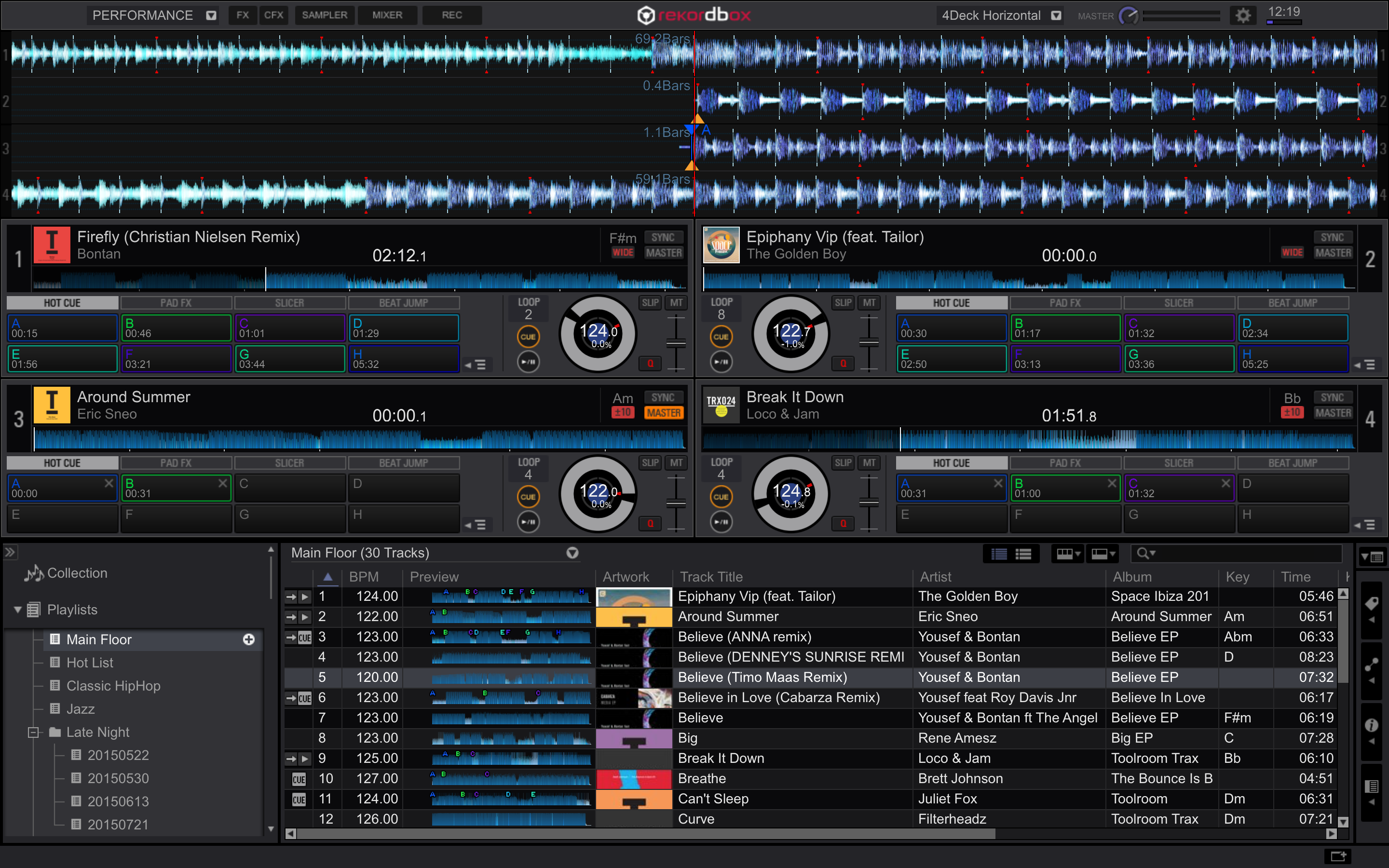 rekordbox dj 4deck horizontal